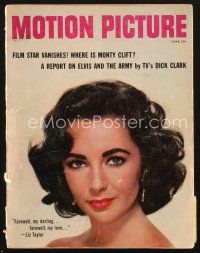 3d108 MOTION PICTURE magazine June 1958 head & shoulders portrait of beautiful Elizabeth Taylor!