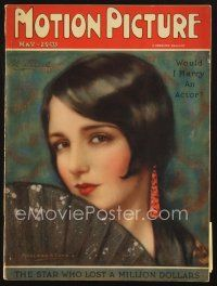 3d099 MOTION PICTURE magazine May 1926 artwork of pretty Bebe Daniels by Marland Stone!