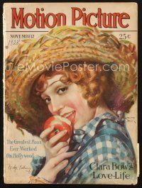 3d100 MOTION PICTURE magazine November 1928 art of country girl Madge Bellamy by Marland Stone!