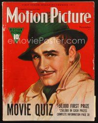 3d105 MOTION PICTURE magazine November 1938 great artwork portrait of Errol Flynn!