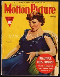 3d104 MOTION PICTURE magazine October 1938 seated portrait of Claudette Colbert in patriotic dress!