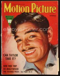 3d103 MOTION PICTURE magazine September 1938 great head & shoulders art portrait of Clark Gable!
