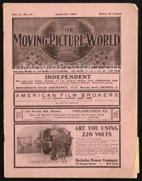 3d066 MOVING PICTURE WORLD exhibitor magazine April 23, 1910 filled with hundred year-old ads!