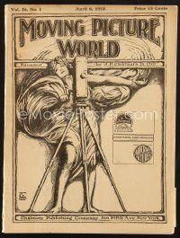 3d076 MOVING PICTURE WORLD exhibitor magazine April 6, 1918 Essanay & First National Chaplin ads!
