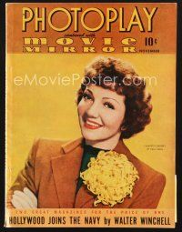 3d115 PHOTOPLAY magazine November 1941 smiling portrait of pretty Claudette Colbert by Paul Hesse!