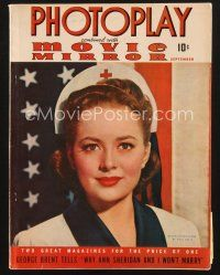 3d113 PHOTOPLAY magazine September 1941 portrait of patriotic Olivia de Havilland by Paul Hesse!