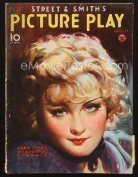 3d120 PICTURE PLAY magazine August 1934 portrait of Anna Sten by Irving Sinclair!