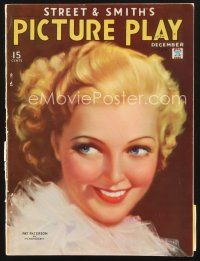 3d124 PICTURE PLAY magazine December 1934 art portrait of pretty Pat Paterson by Tchetchet!