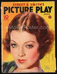 3d119 PICTURE PLAY magazine July 1934 artwork portrait of sexy Myrna Loy by Albert Fisher!