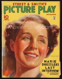 3d123 PICTURE PLAY magazine November 1934 smiling art portrait of Norma Shearer by Albert Fisher!