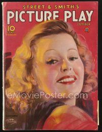 3d122 PICTURE PLAY magazine October 1934 artwork portrait of Lilian Harvey by Albert Fisher!