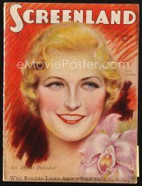 3d129 SCREENLAND magazine October 1929 art of pretty Laura La Plante by Charles Sheldon!