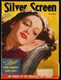 3d130 SILVER SCREEN magazine December 1941 artwork of pretty Dorothy Lamour by Marland Stone!