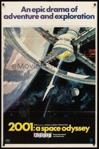 3e001 2001: A SPACE ODYSSEY Cinerama style A 1sh '68 Stanley Kubrick, Bob McCall space wheel art!
