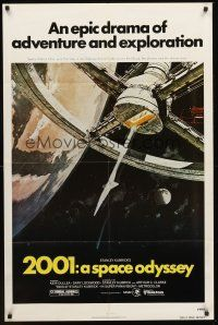 3e003 2001: A SPACE ODYSSEY 1sh R80 Stanley Kubrick, art of space wheel by Bob McCall!