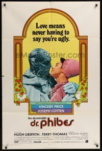 3e016 ABOMINABLE DR. PHIBES 1sh '71 Vincent Price says love means never having to say you're ugly!