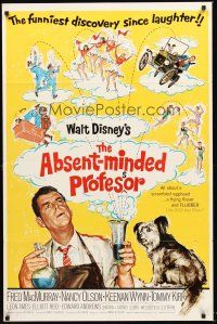 3e017 ABSENT-MINDED PROFESSOR 1sh '61 Walt Disney, Flubber, Fred MacMurray in title role!