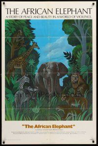 3e020 AFRICAN ELEPHANT style B 1sh '71 great artwork, get to know the jungle before they pave it!
