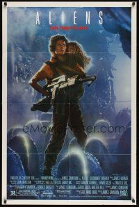 3e028 ALIENS Ripley style 1sh '86 James Cameron, cool image of Sigourney Weaver & Carrie Henn!
