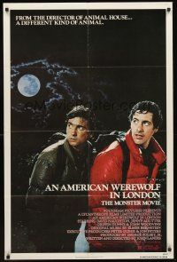 3e035 AMERICAN WEREWOLF IN LONDON 1sh '81 David Naughton, Griffin Dunne, directed by John Landis!