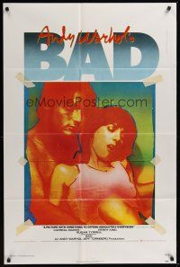 3e038 ANDY WARHOL'S BAD 1sh '77 Carroll Baker, Perry King, sexploitation black comedy!