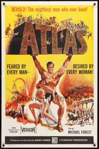3e048 ATLAS 1sh '61 great artwork of mightiest gladiator Michael Forest, Roger Corman!