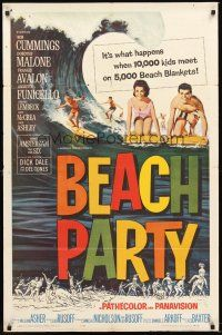 3e069 BEACH PARTY 1sh '63 Frankie Avalon & Annette Funicello riding a wave on surf boards!
