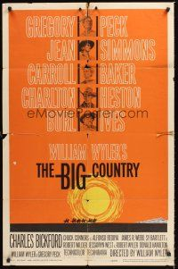 3e076 BIG COUNTRY style B 1sh '58 Gregory Peck, Charlton Heston, William Wyler classic!