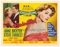 3h009 BEDEVILLED TC '55 Steve Forrest fell in love with beautiful blue-eyed killer Anne Baxter!
