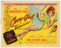 3h017 COVER GIRL TC '44 sexiest full-length Rita Hayworth laying down with flowing red hair!