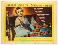 3h018 CRIME OF PASSION TC '57 sexy Barbara Stanwyck reaches for gun to shoot Sterling Hayden!
