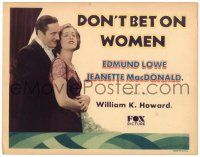 3h022 DON'T BET ON WOMEN TC '31 Edmund Lowe bets $10,000 wife Jeanette MacDonald won't betray him!
