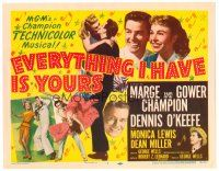 3h025 EVERYTHING I HAVE IS YOURS TC '52 full-length art of Marge & Gower Champion dancing!