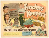 3h028 FINDERS KEEPERS TC '52 Tom Ewell, Julia Adams, Evelyn Varden, wacky image of rich boy!