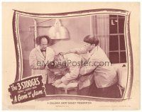 3h382 GEM OF A JAM LC '44 Three Stooges Moe & Larry try to free Curly from fishbowl!