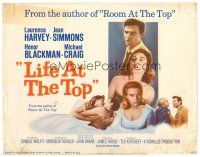 3h045 LIFE AT THE TOP int'l TC '66 Laurence Harvey with sexy Jean Simmons & Honor Blackman!