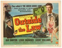 3h058 OUTSIDE THE LAW TC '56 Treasury T-Man Ray Danton blasts a counterfeiting racket!