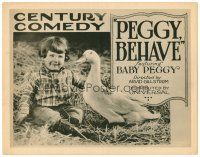 3h061 PEGGY BEHAVE TC '22 great close up image of Baby Peggy and goose, Century Comedy!