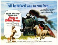 3h069 RIDE A WILD PONY TC '76 Disney, cool artwork of boy on white horse riding alongside train!