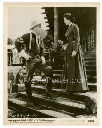 3k007 7th CAVALRY 8x10 still '56 full-length Barbara Hale talks to cavalry man on stairs!