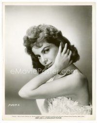 3k008 ABBE LANE 8x10 still '58 great close up of the beautiful brunette in cool dress!