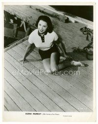 3k018 ALENA MURRAY 8x10 still '50s smiling portrait of the pretty actress sitting on a pier!