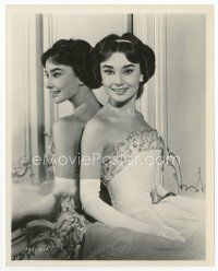 3k053 AUDREY HEPBURN 8x10 still '57 c/u in beautiful dress by mirror from Love in the Afternoon!