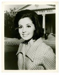 3k060 BARBARA PARKINS 8x10 still '60s smiling portrait by town hall from TV's Peyton Place!