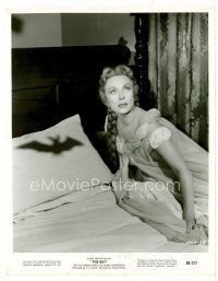 3k067 BAT 8x10 still '59 close up of scared Agnes Moorehead looking up from bed!