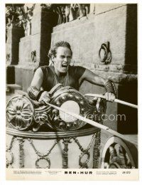 3k069 BEN-HUR 7.5x10 still '60 best close up of Charlton Heston in the famous chariot race!