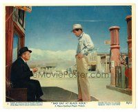 3k057 BAD DAY AT BLACK ROCK color 8x10 still #7 '55 Robert Ryan stands over seated Spencer Tracy!