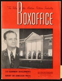 3r071 BOX OFFICE exhibitor magazine May 30, 1953 Three Stooges & Walt Disney in 3-D, Houdini!