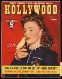 3r108 HOLLYWOOD magazine December 1942 great portrait of Joan Leslie with canary!