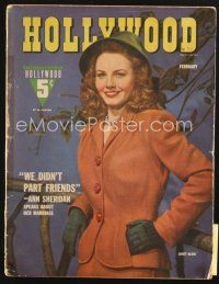 3r110 HOLLYWOOD magazine February 1943 great smiling portrait of pretty Janet Blair!